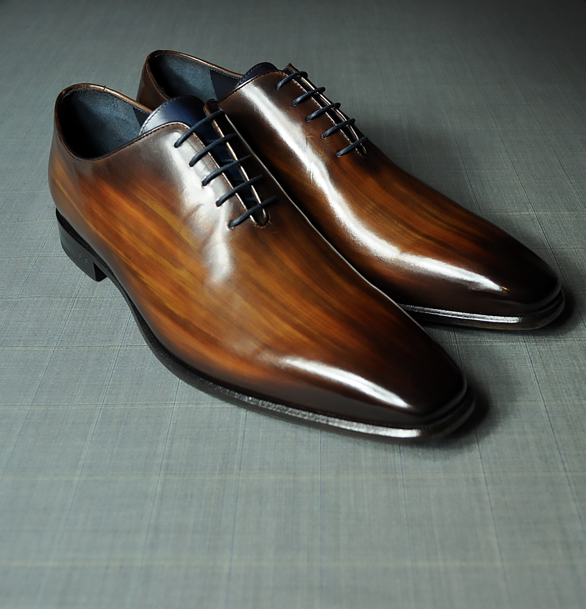 Brown Patina Wholecut Blue Leather Sole